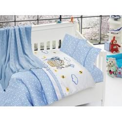 Бебешко спално бельо с плетено памучно одеяло - Кити блу от StyleZone