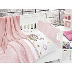 Бебешко спално бельо с плетено памучно одеяло - Кити пинк от StyleZone