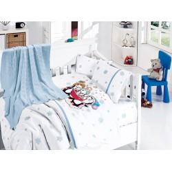 Бебешко спално бельо с плетено памучно одеяло - Пингвини блу от StyleZone