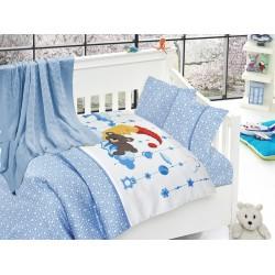 Бебешко спално бельо с плетено памучно одеяло - Слипър Блу от StyleZone