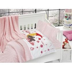 Бебешко спално бельо с плетено памучно одеяло - Слипър Пинк от StyleZone