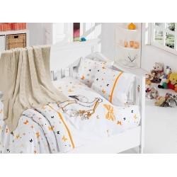 Бебешко спално бельо с плетено памучно одеяло - Сторк Ориндж от StyleZone