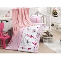 Бебешко спално бельо с плетено памучно одеяло - Love Bunny от StyleZone