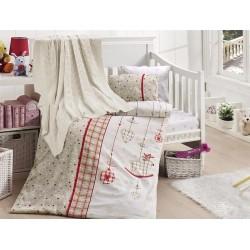 Бебешко спално бельо с плетено памучно одеяло - Palmi Kirmizi от StyleZone