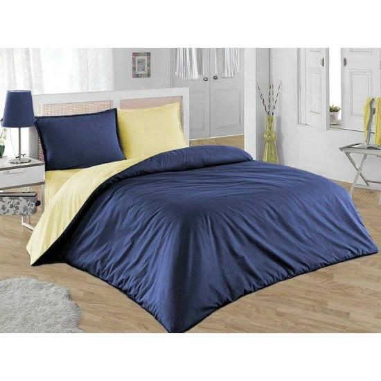 Двуцветно спално бельо от 100% памук (тъмно синьо/светло жълто) от StyleZone