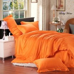 Едноцветно спално бельо от памучен сатен - ОРАНЖ от StyleZone