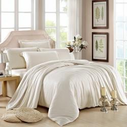Едноцветно спално бельо от памучен сатен - БЯЛО от StyleZone
