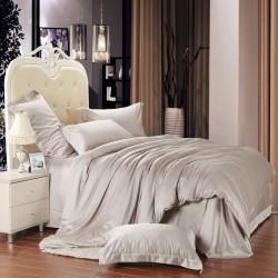 Едноцветно спално бельо от памучен сатен - БЕЖОВО от StyleZone