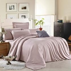 Едноцветно спално бельо от памучен сатен - СВЕТЛО ПЕПЕЛ ОТ РОЗИ от StyleZone