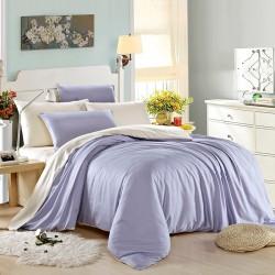 Двуцветно спално бельо от памучен сатен (бяло/светло лилаво) от StyleZone
