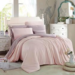 Двуцветно спално бельо от памучен сатен (светло розово/ лилаво) от StyleZone