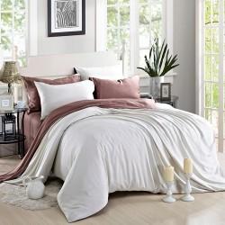Двуцветно спално бельо от памучен сатен (бяло/цвят боровинка) от StyleZone