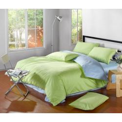 Двуцветно спално бельо от памучен сатен (нежно зелено/светло синьо) от StyleZone