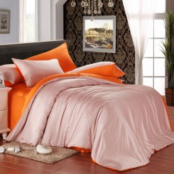 Двуцветно спално бельо от памучен сатен (светло розово/ оранжево) от StyleZone