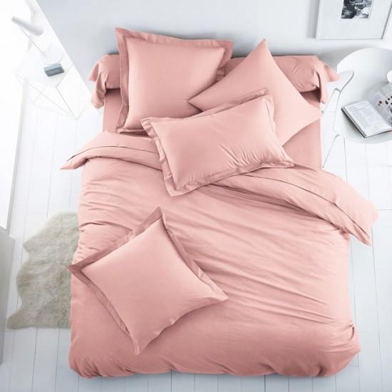 Едноцветно спално бельо от 100% памук ранфорс - СВЕТЛОРОЗОВО от StyleZone
