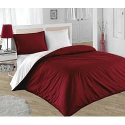 Двуцветно спално бельо от 100% памук ранфорс (бордо/бяло) от StyleZone