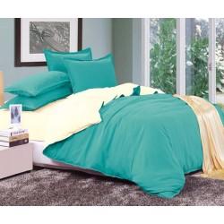 Двуцветно спално бельо от 100% памук ранфорс (тюркоаз/екрю) от StyleZone