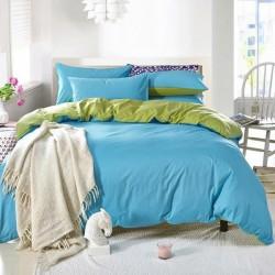 Двуцветно спално бельо от 100% памук ранфорс (светлосиньо/зелено) от StyleZone