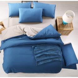 Двуцветно спално бельо от 100% памук ранфорс (тъмносиньо/сиво) от StyleZone