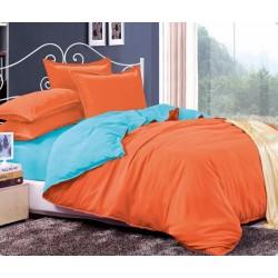 Двуцветно спално бельо от 100% памук ранфорс (светлосиньо/оранж) от StyleZone