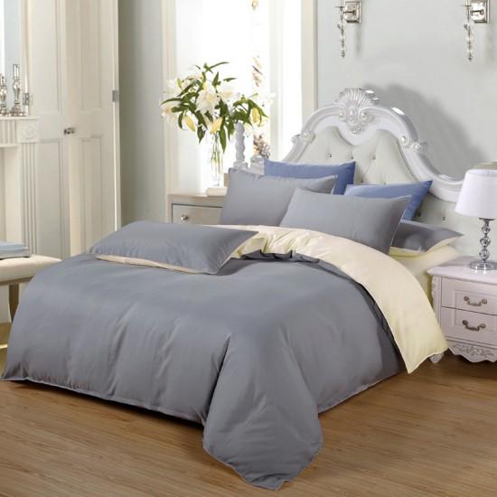 Двуцветно спално бельо от 100% памук ранфорс (светлосиво/екрю) от StyleZone