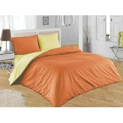 Двуцветно спално бельо от 100% памук ранфорс (оранж/екрю) от StyleZone