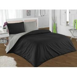 Двуцветно спално бельо от 100% памук ранфорс (черно/графитено сиво) от StyleZone