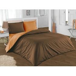 Двуцветно спално бельо от 100% памук ранфорс (кафяво/оранж) от StyleZone