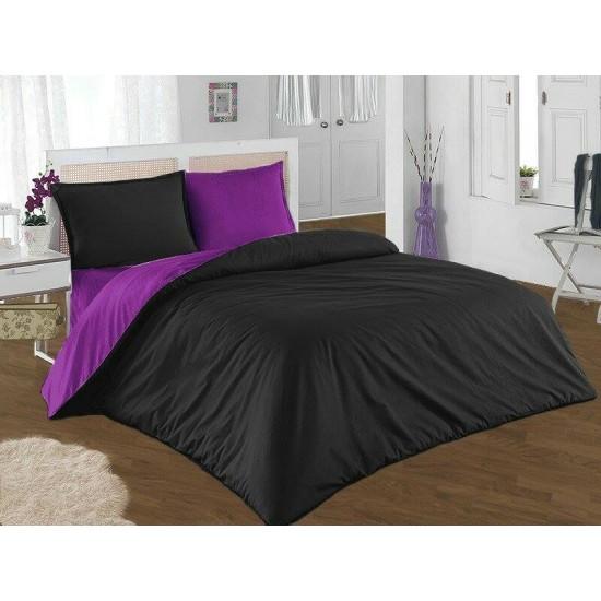 Двуцветно спално бельо от 100% памук (лилаво/черно) от StyleZone