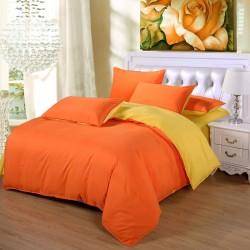 Двуцветно спално бельо от 100% памук ранфорс (оранж/жълто) от StyleZone