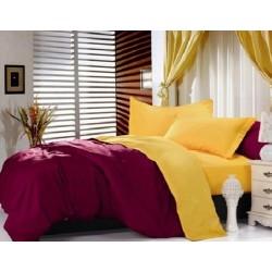 Двуцветно спално бельо от 100% памук ранфорс (бордо/патешко жълто) от StyleZone