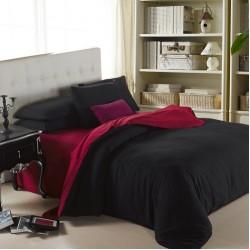 Двуцветно спално бельо от 100% памук ранфорс (бордо/черно) от StyleZone
