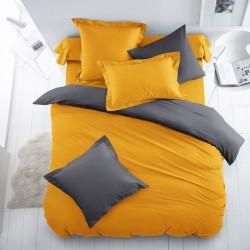 Двуцветно спално бельо от 100% памук ранфорс (патешко жълто/графит) от StyleZone