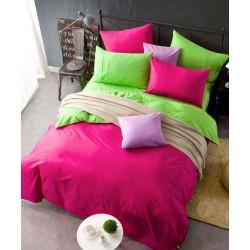 Двуцветно спално бельо от 100% памук ранфорс (зелено/циклама) от StyleZone