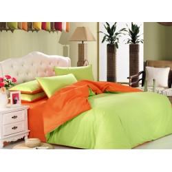 Двуцветно спално бельо от 100% памук ранфорс (лайм/оранж) от StyleZone