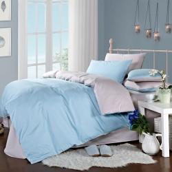 Двуцветно спално бельо от 100% памук ранфорс (светлосиньо/сиво) от StyleZone