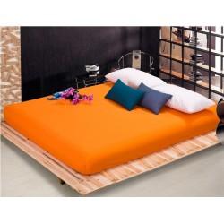 Чаршаф с ластик от памучен сатен - Оранжев от StyleZone