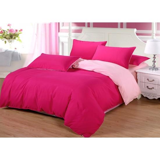 Двуцветно спално бельо от 100% памук ранфорс (циклама/светлорозово) от StyleZone