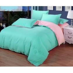 Двуцветно спално бельо от 100% памук ранфорс (цвят мента/ светлорозово) от StyleZone