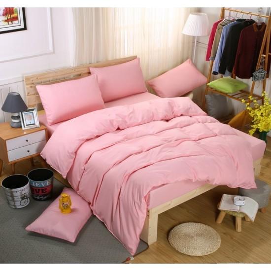 Едноцветно спално бельо със завивка -  СВЕТЛОРОЗОВО от StyleZone