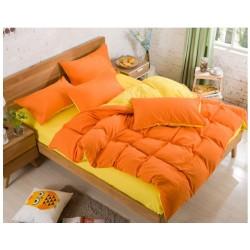 Двуцветно спално бельо със завивка (оранж/патешко жълто) от StyleZone