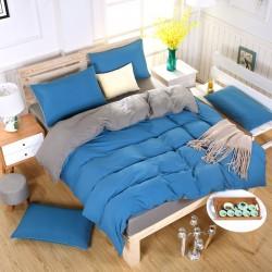 Двуцветно спално бельо със завивка (тъмносиньо/графит) от StyleZone
