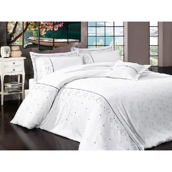 Вип спално  бельо  от висококачествен сатениран памук -Diana beyaz от StyleZone