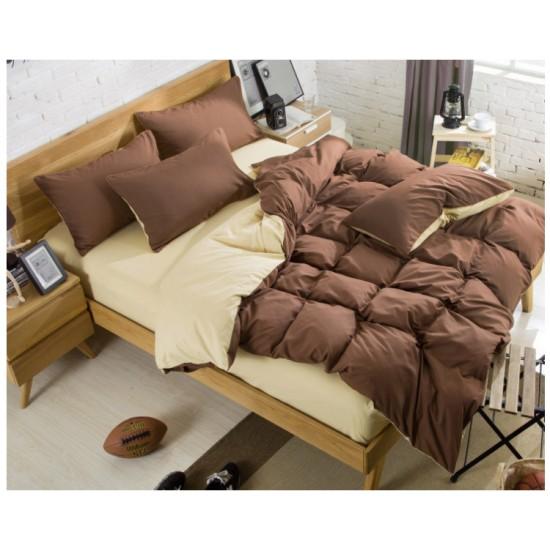 Двуцветно спално бельо със завивка (кафяв/крем) от StyleZone
