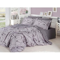 Луксозно спално бельо от сатениран памук- Calisto Gri от StyleZone