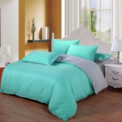 Двуцветно спално бельо от 100% памук ранфорс (цвят мента/ светлосиво) от StyleZone