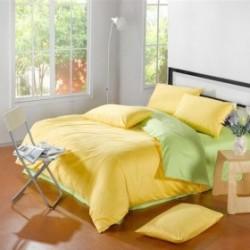 Двуцветно спално бельо от 100% памук ранфорс (зелено/жълто) от StyleZone