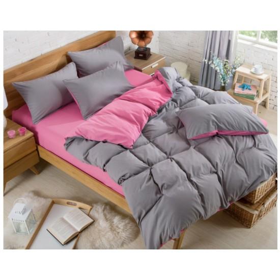 Двуцветно спално бельо със завивка (графит/ бейби розово) от StyleZone