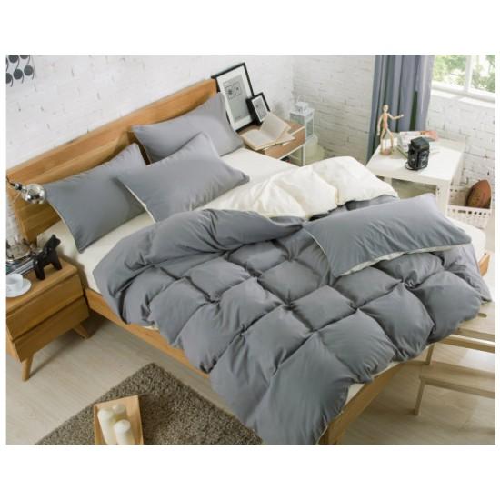 Двуцветно спално бельо със завивка (графит/екрю) от StyleZone