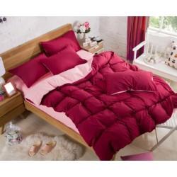 Двуцветно спално бельо със завивка (бордо/светлорозово) от StyleZone